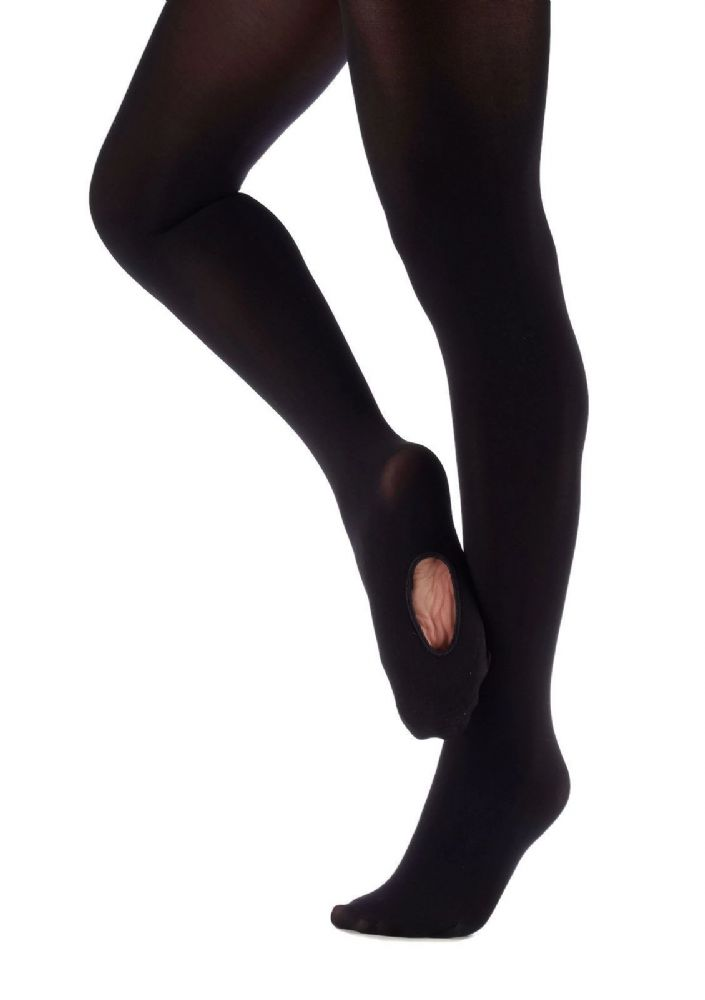 SILKY BALLET DANCE TIGHTS Convertible Foot 4 Adult Sizes S, M, L and XL BLACK